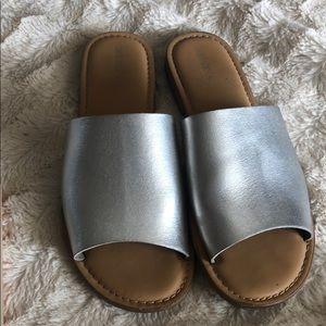 Merona silver slide sandals